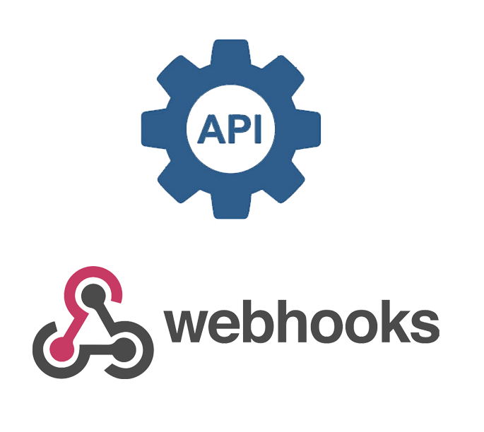Logos des technologies API et Webhooks