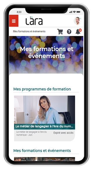 Image montrant le tableau de bord Lära LMS sur un téléphone intelligent