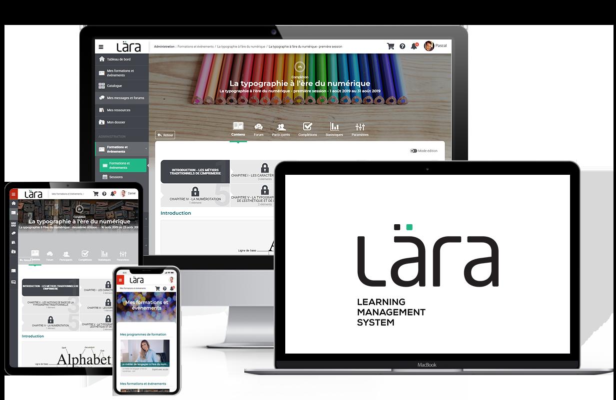 Représentation de la plateforme Lära LMS sur une tablette, un téléphone et un ordinateur