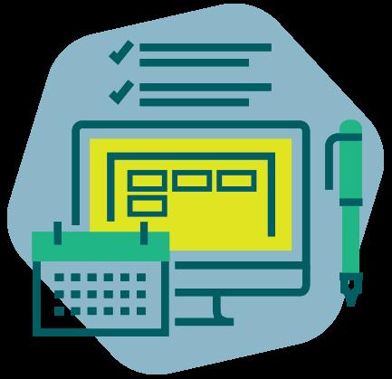 Illustration de la fonction catalogue de formation avec un écran montrant des formations et un calendrier.