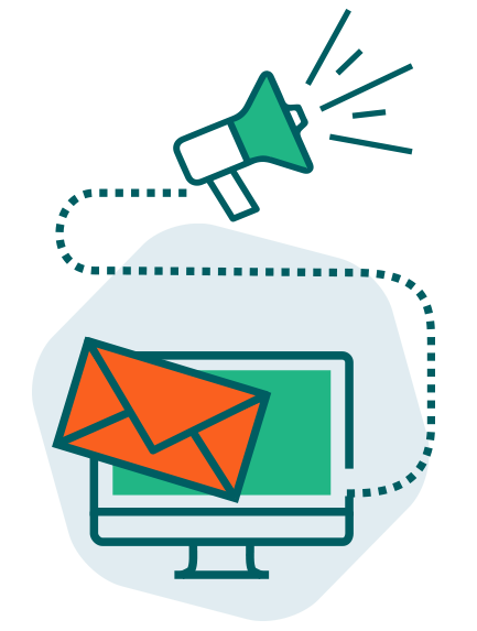 Illustration de la fonction campagne de promotion avec une enveloppe et un porte-voix.