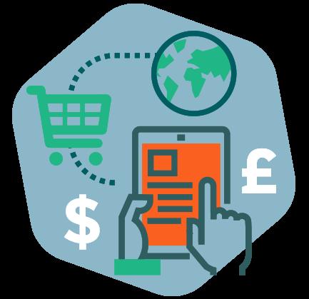Illustration de la fonction e-commerce avec une tablette, un panier d'achat et des devises.