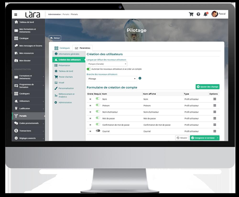 Image de la plateforme Lära et de la fonction de création et gestion des utilisateurs