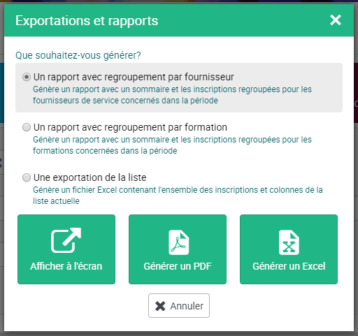 Capture d'écran montrant l'outil de génération de rapports aux formats PDF et Excel
